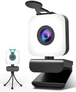Webcam with Microphone and Light, 1080P Web Cam with Privacy Cover & Tripod for Desktop/Laptop/PC/MAC, Web Camera for Computer, Skype, YouTube, Zoom, Xbox One, Studying, Video Calling