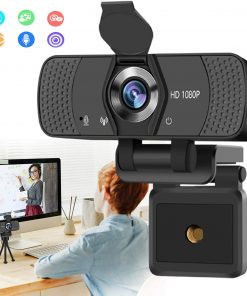 Burxoe Webcam with Microphone, 1080P HD Streaming Web Camera for Desktop Computer, PC USB Camera 110-Degree with Privacy Cover Tripod Mic for Video